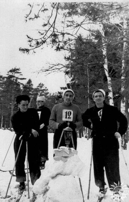 At ​​a skiing competition among students of Moscow Literary Institute. 1954